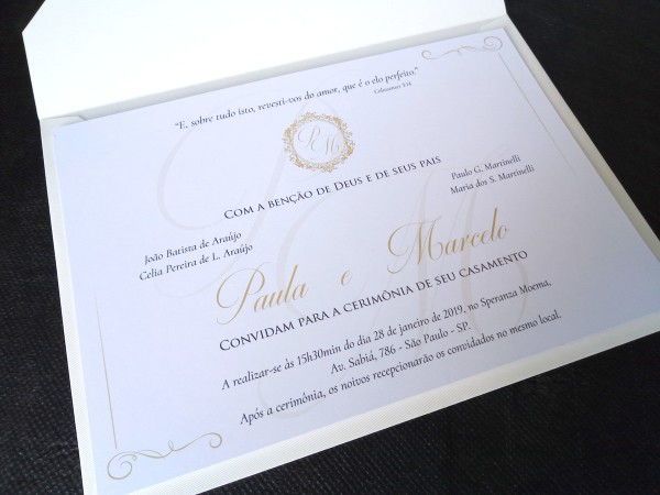 Convite casamento classico com envelope papel markatto no elo7