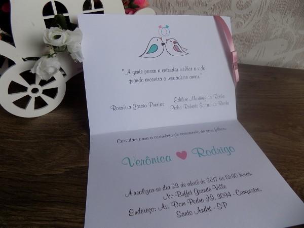 Convite casamento noivinhos, passarinhos, pombinhos (140un)
