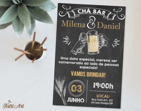 Convite chá bar digital no elo7