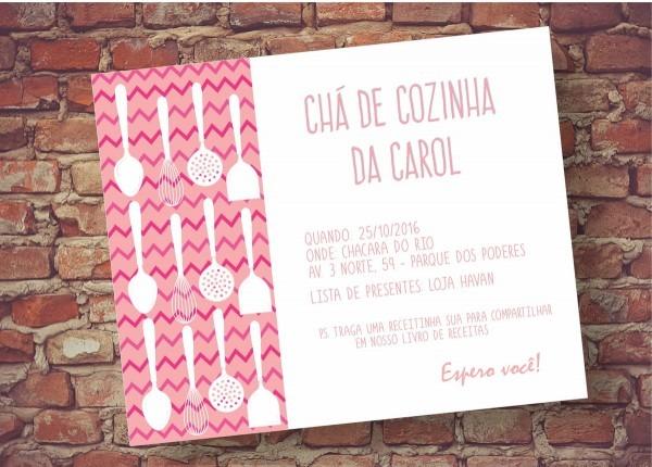 Convite chá cozinha rosa