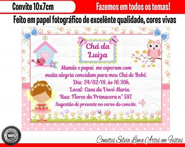 Convite chá de bebê jardim encantado no elo7