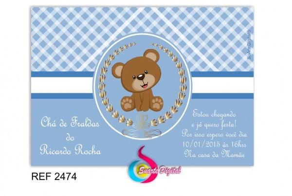 Convite chá de bebê masculino no elo7