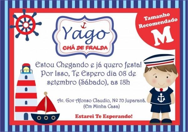 Convite chá de fralda marinheiro infantil personaliz 20uni