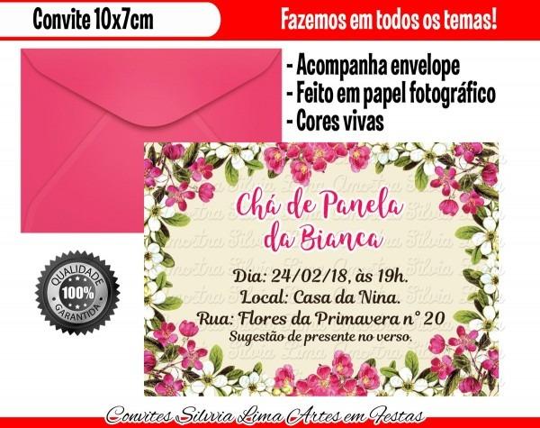 Convite chá de panela floral no elo7