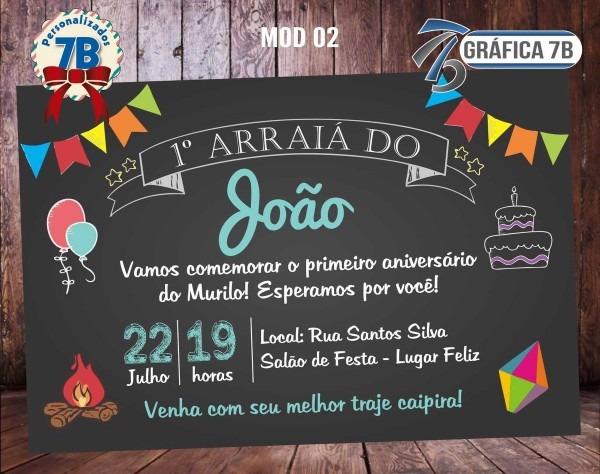Convite chalkboard festa junina digital no elo7