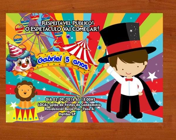 Convite circo tamanho 10x15 no elo7