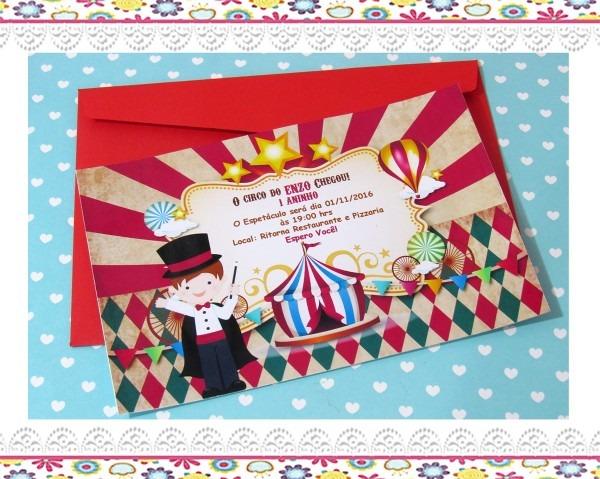 Convite circo vintage no elo7