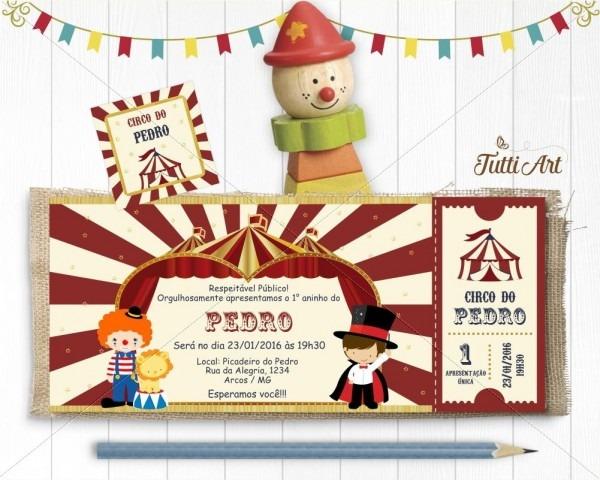 Convite circo ingresso digital no elo7