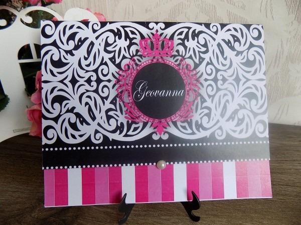 Convite de 15 anos preto com pink (100un)