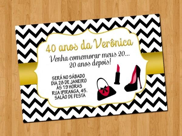 Convite de aniversario 40 anos gratis galeria boteco aniversariao
