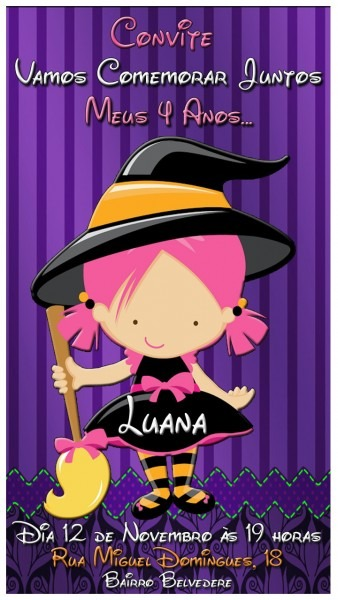 Convite de aniversário bruxinha rosa no elo7