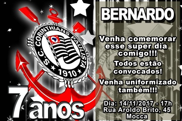 Convite de aniversario corinthians 7 » happy birthday world