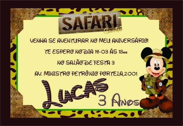 Convite de aniversario do mickey safari no elo7