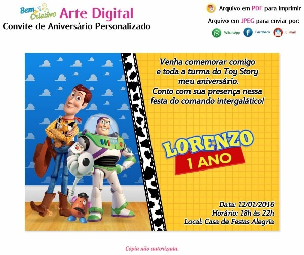 Convite de aniversario toy story 3 » happy birthday world