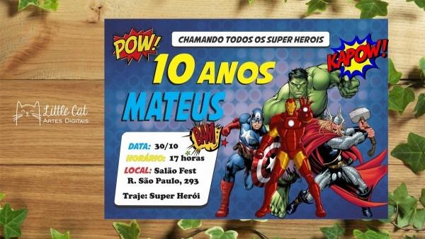 Convite de aniversário vingadores super herói
