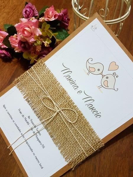 Convite de casamento com faixa de juta no elo7