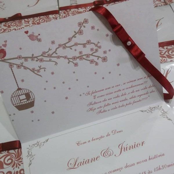 Convite de casamento passarinhos vinho marsala no elo7