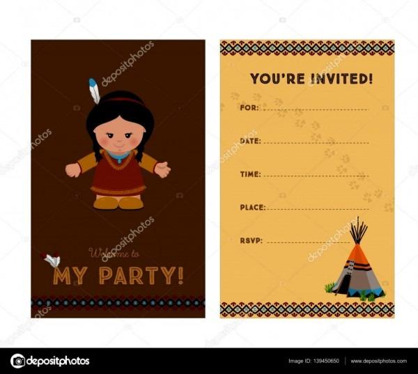 Convite de festa americana galeria para garota do ndio americano