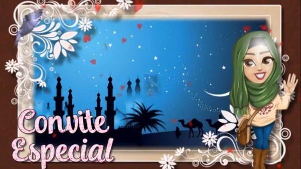 Convite digital animado festa Árabe, Árabia