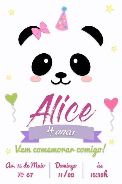 Convite digital aniversário festa tema panda menina modelo 2