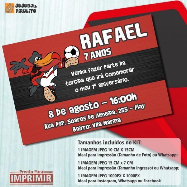 Convite digital aniversÁrio flamengo m3 no elo7