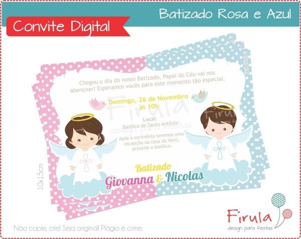 Convite digital batizado azul e rosa no elo7