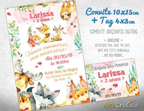 Convite digital c tag animaizinhos fofinhos menina 3 no elo7