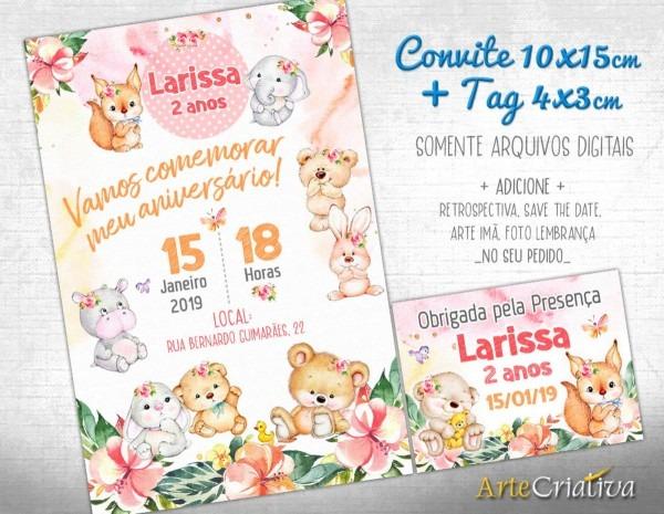Convite digital c tag animaizinhos fofinhos menina no elo7