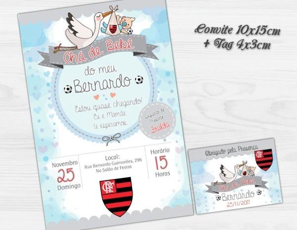 Convite digital c tag chá de bebê futebol flamengo no elo7