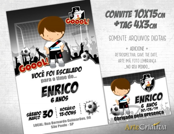 Convite digital c tag futebol vascogama no elo7