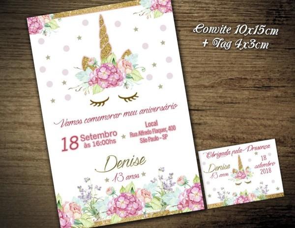 Convite digital c tag unicórnio flor1 no elo7