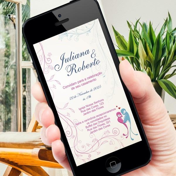 Convite digital casamento floral no elo7