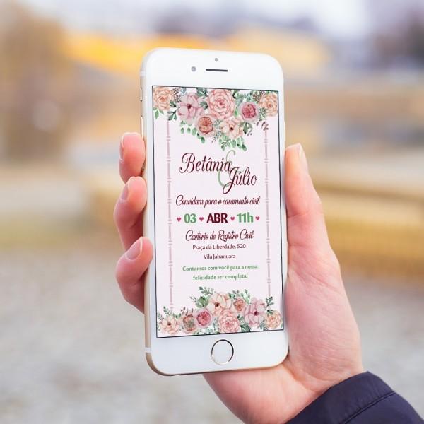 Convite digital casamento noivado floral zap mod13