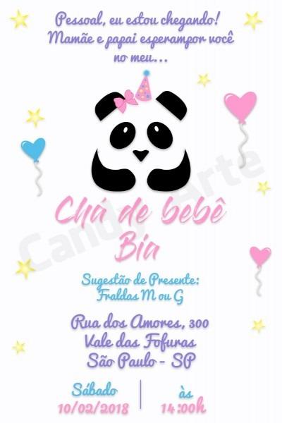 Convite digital chá de fraldas chá de bebê tema panda menina