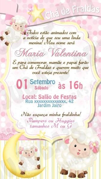 Convite digital chá de fraldas ovelhinha chá de bebê menina