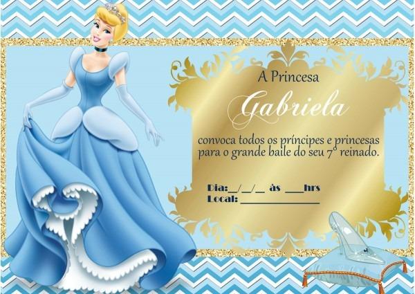 Convite digital cinderela no elo7