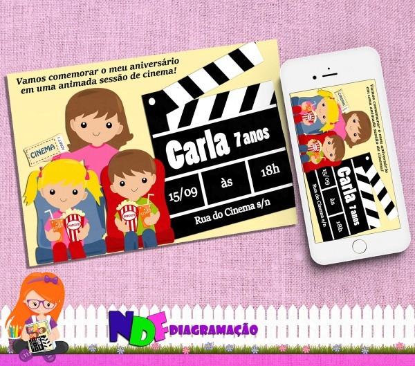 Convite digital cinema no elo7