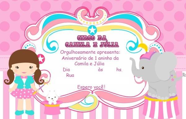 Convite digital circo rosa no elo7