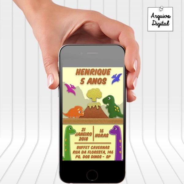 Convite digital de aniversário dinossauro no elo7