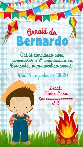 Convite digital festa junina menino para whatsapp