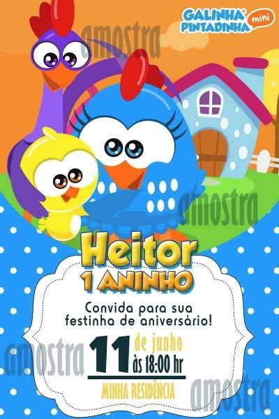 Convite digital galinha pintadinha baby no elo7