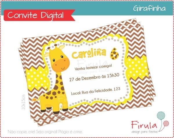 Convite digital girafa no elo7