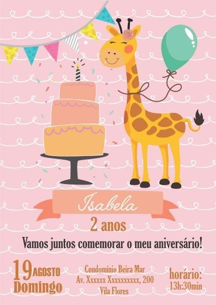 Convite digital girafa p whatsapp e email no elo7