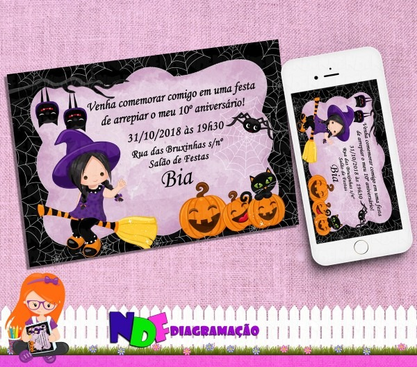 Convite digital halloween bruxinha no elo7