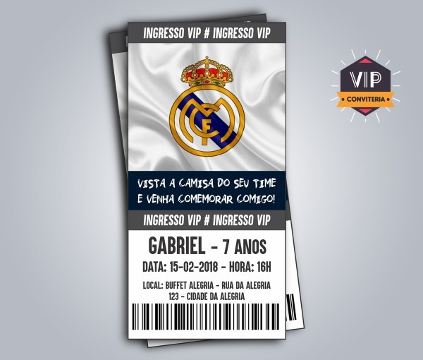 Convite digital ingresso futebol real madrid no elo7