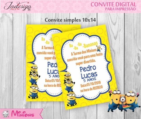 Convite digital minions no elo7