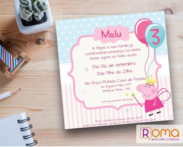 Convite digital peppa pig princesa no elo7
