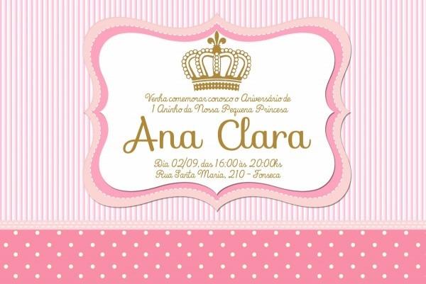 Convite digital princesa coroa dourada