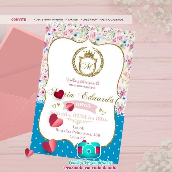 Convite digital princesa realeza para enviar via whatsapp no elo7