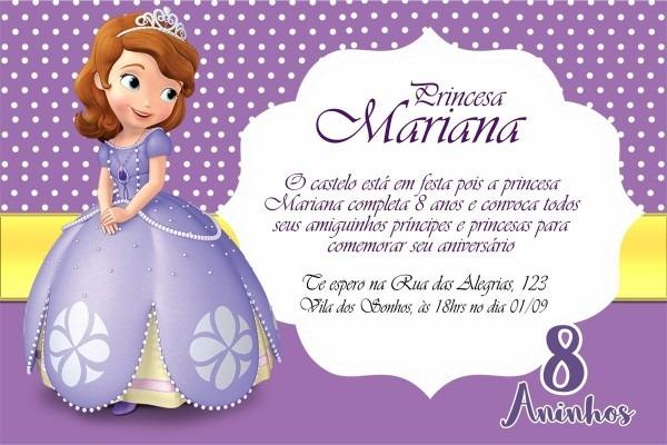 Convite digital princesa sophia arte